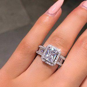 NEW 925 Silver Radiant Cut Diamond Halo Ring
